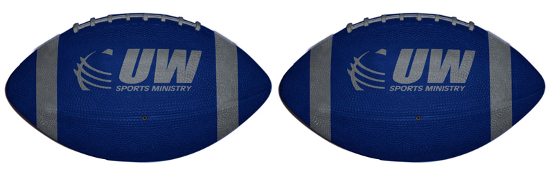Customized colored footballs for sale. Order a football with your company logo printed onto each football.