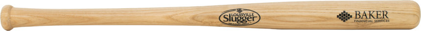 "Personalized 22"" Louisville Slugger baseball bat with logo."