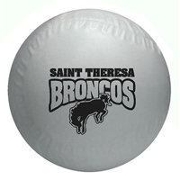 White colored vinyl baseball with custom logo imprint.