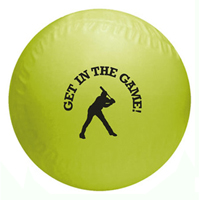 Yellow colored vinyl baseball with custom logo imprint.