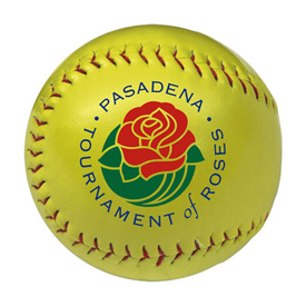 Official size softball for promotional use. Optic yellow colored personalized softballs for sale.