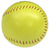 The back of the yellow colored promotional softball.