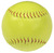 The seams of the optic yellow colored promotional softball.