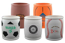Personalized can coolers with sporting theme. Order sports themed coozies with your logo printed onto each coozie.