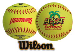 Wilson official size softballl with custom printed logo.